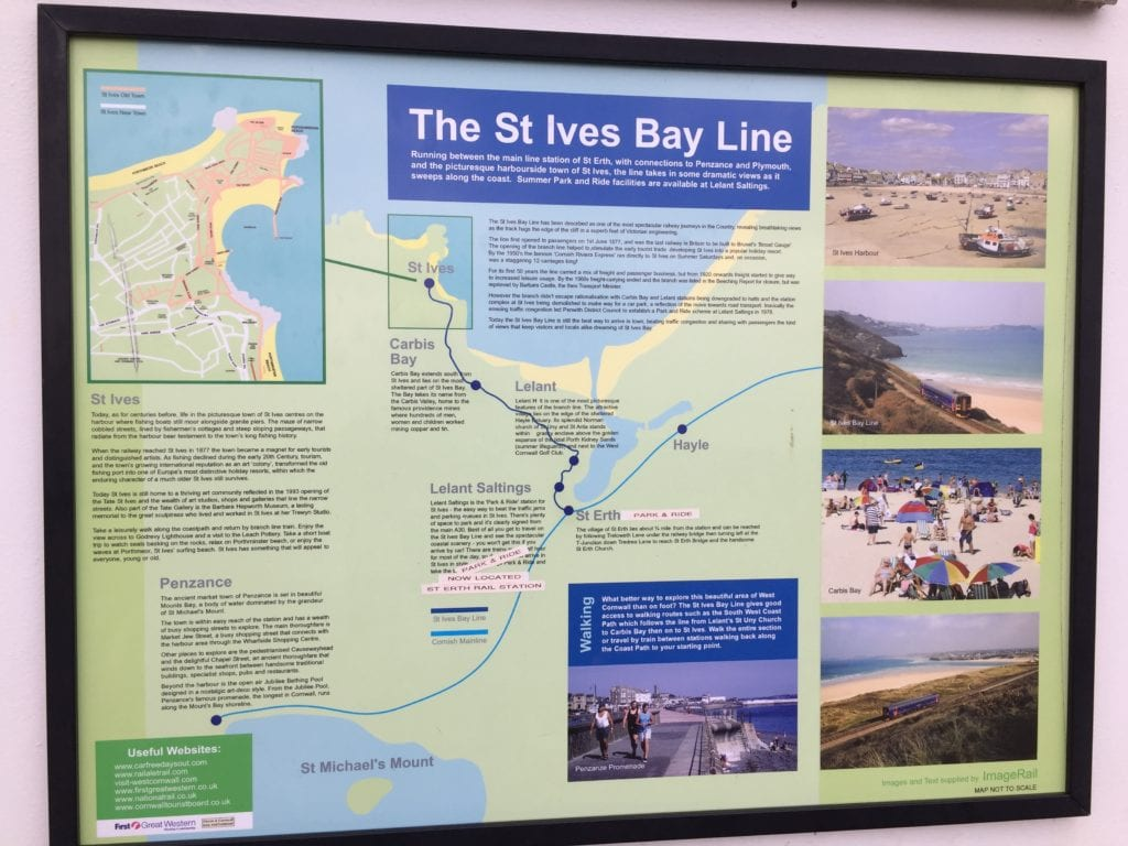 A sign at St Ives train station showing the route of the line through Carbis Bay, St Ives, Lelant, Lelant Saltings and St Erth/.St Ives to Carbis Bay on the South West Coast Path
