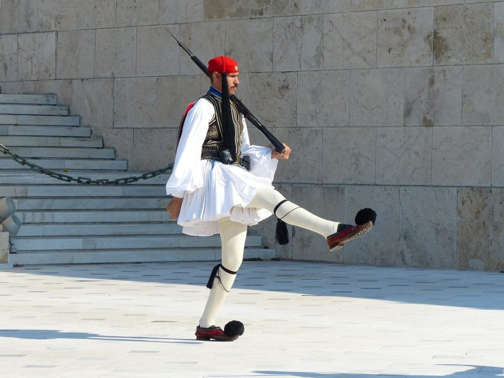 athens, changing of the guard, evzone, backpacking in Athens