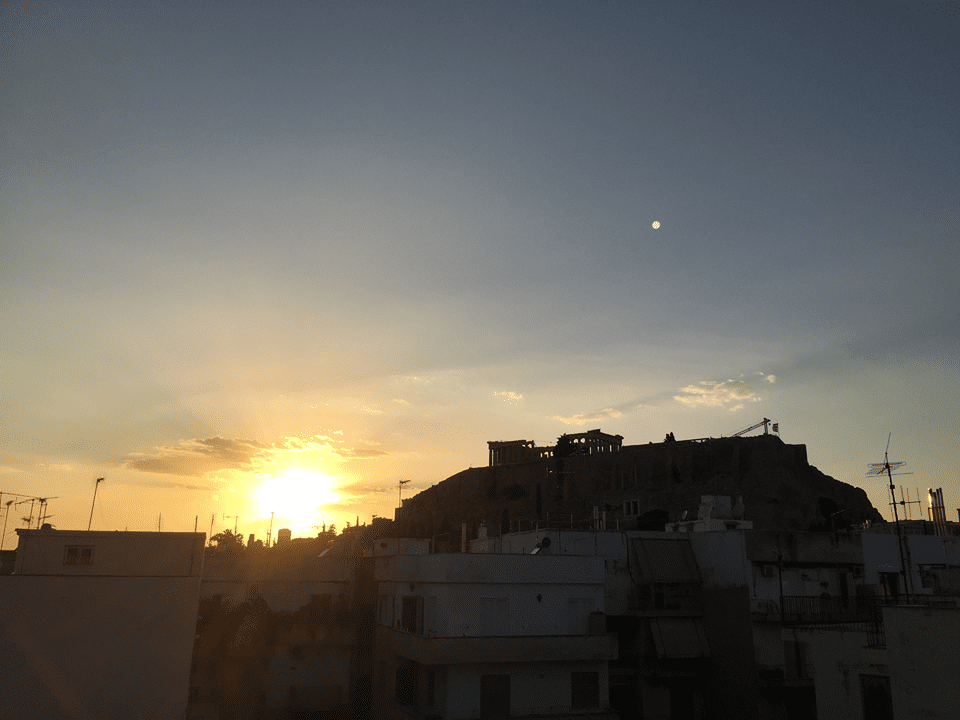 Athens backpackers, Athens backpackers hostel, Acropolis, Athens, Sunset, Sunset Acropolis, City. Evening city, 24 hours in Athens