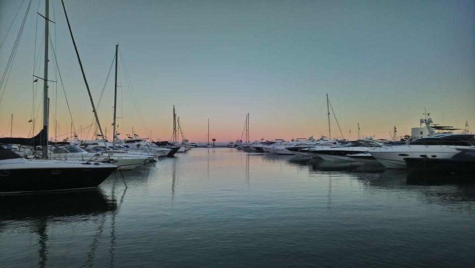 The marina in Santa Eulalia Ibiza at Sunset