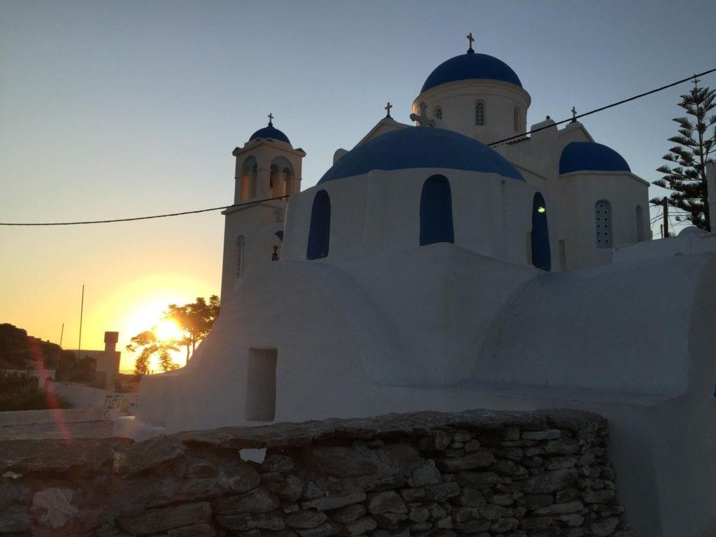 Ios church, ios chora, greece, sunset ios