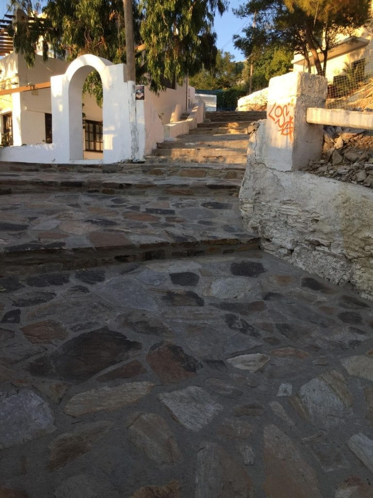 The old Donkey Trail from Ios Port to Ios Chora.
