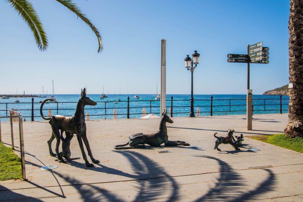 Statues overlooking Mariner's Beach, Santa Eulalia, Ibiza