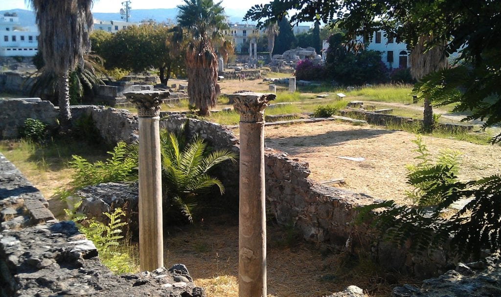 The ancient Agora in Kos Town. Kos Town historical sight. Kos Town with kids
