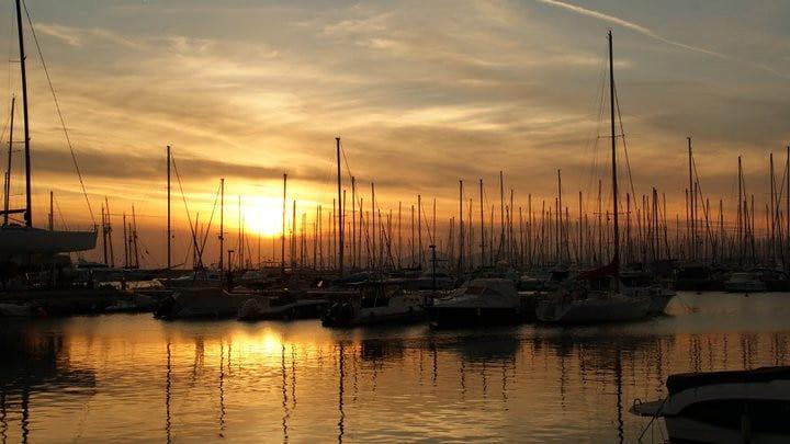 sunset on athens beach, alimos marina