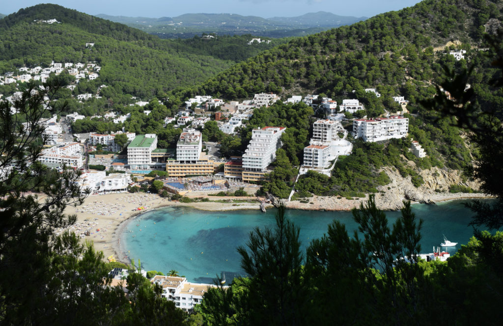 Cala Llonga Ibiza from up high.